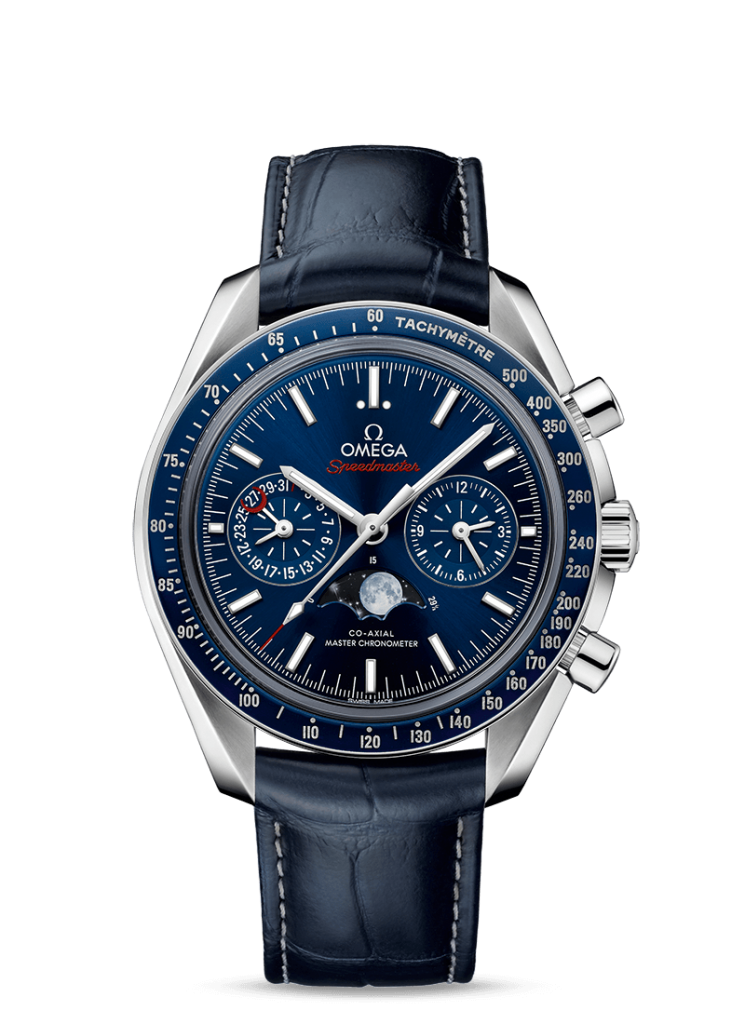 Replica Omega Speedmaster Moonphase Watches With Blue leather Straps